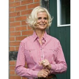 HUBERTUS Koszula damska w kratę z długim rękawem